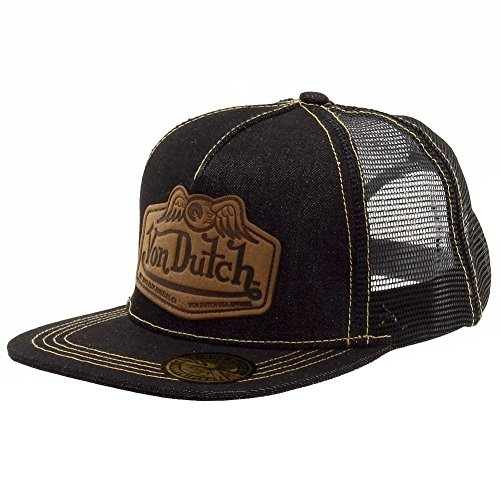 von-dutch-mens-leather-patch-black-tan-trucker-cap-hat-one-size-fits-most