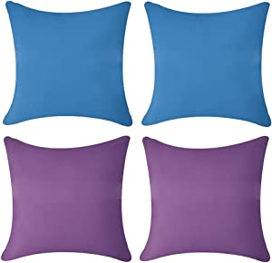 Andreannie Pack of 4 Outdoor Waterproof Soft Delicate Decorative Throw Pillow Cover Cushion Case for Garden Tent Park Farmhouse Polyester Both Sides Square 18 x 18 inches (Set of 4 B)