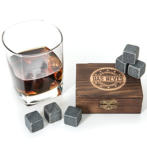 Whiskey Stones: Chilling, Irish, Scotch, Set of 9 Grey Pure Granite Chilling Whiskey Stones and Crafted Wooden Gift Box - Great for Keeping Drink Ice Cold With No Dilution - - Harley Box Novelty Davidson