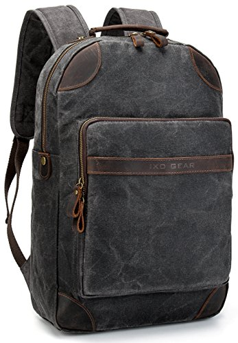 Detail Slip Leather Buckle (Vintave Waterproof Oil Waxed Canvas Genuine Crazy Horse Leather College Weekend Travel Laptops Backpack Fit to Laptop Up to 15.6 Inch By 1XD GEAR)