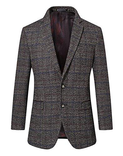 UNbox Mens Dress Casual Business Suit Two Button Slim Fit Suit Khaki XL by UNbox (Image #2)'