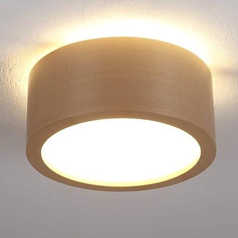 Plafón Madera Haya Diámetro 35 cm | Madera lámpara LED 2 x 6 ...