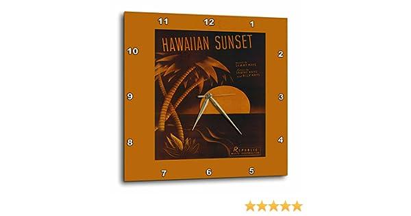 Wall Clock 13 by 13-Inch 3dRose Hawaiian Sunset Tropical Sunset with Palm Tree DPP/_170739/_2