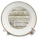 3dRose Typography Quote on Wood Happiness is Not a Situation But a Way of Life Porcelain Plate, 8''