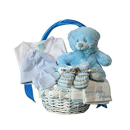 Canastilla regalo bebe - Primera Puesta Básica azul- Cesta regalo ...