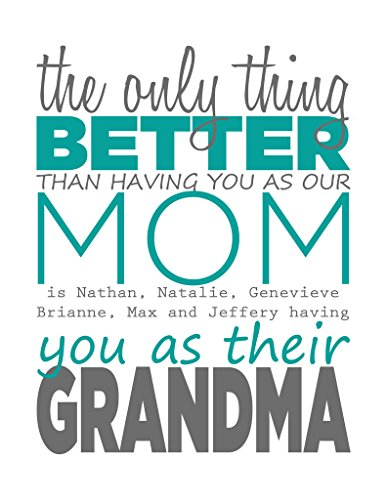 Teal Special Day Grandmother - Custom Artwork, Personalized Art for Families, Friends, and Couples. Mothers Day, Valentines Day, Grandparents Day