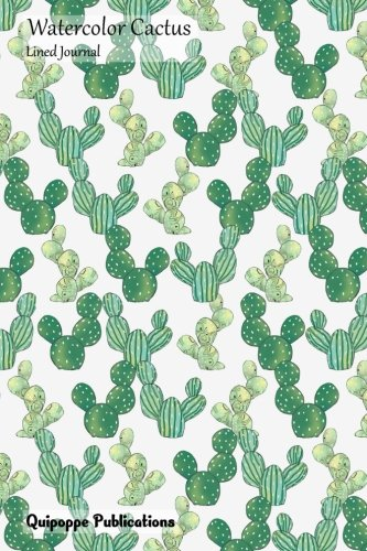 Watercolor Cactus Lined Journal: Medium Size College Ruled Notebook With Orderly Cute Cacti Pattern Cover -