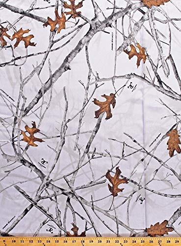 Satin True Timber Conceal Snow Camo Bridal White Snow Branches Leaves Camouflage Satin Fabric Print by The Yard (PP1008-593-CONCEAL) -