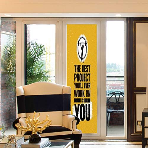 Flex Lifter (YOLIYANA Environmental Protection Window Film,Fitness,for Home Office School,The Best Project is You Phrase with Weightlifter,24''x78'')