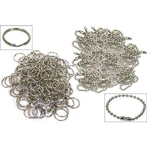 Ball Chain Nickel Plated (200 Split Rings Ball Chains Keychain Nickel Plated)
