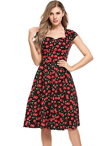 Women Vintage Styles U-Neck Cap Sleeve Sweetheart Cherry Print Fit and Flare Dress (Plus Size 90s Fancy Dress)