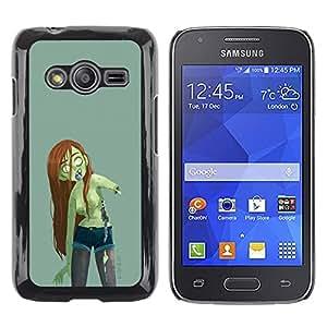 Shell-Star Arte & diseño plástico duro Fundas Cover Cubre Hard Case Cover para Samsung Galaxy Ace4 / Galaxy Ace 4 LTE / SM-G313F ( Zombie Green Girl Woman Long Brown Hair )