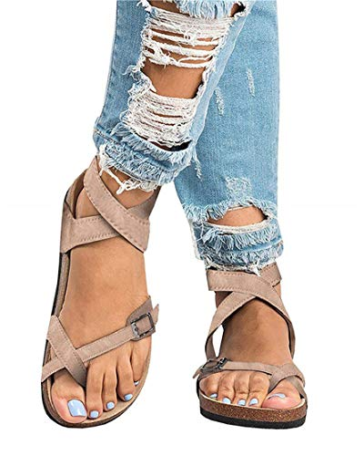 (Mafulus Womens Sandals Gladiator Ankle Buckle Strappy Summer Thong Flat Slides )