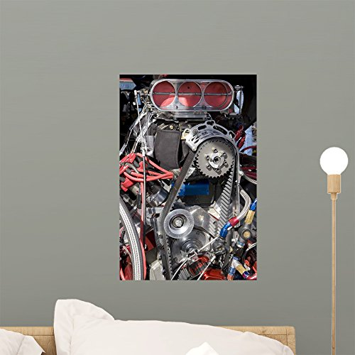 Wallmonkeys WM209504 Hot Rod Engine Peel and Stick Wall Decals (18 in H x 12 in W), Small