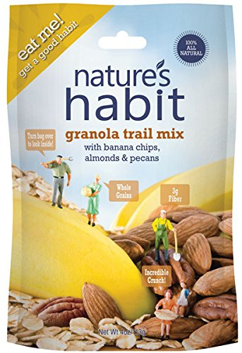 Nature's Habit Granola Trail Mix with Banana Chips, Almonds and Pecans, 12x4oz