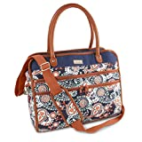 Fit & Fresh Wayfarer Carry On Bag for Women, Zippered Travel Tote, Navy Orange Paisley For Sale