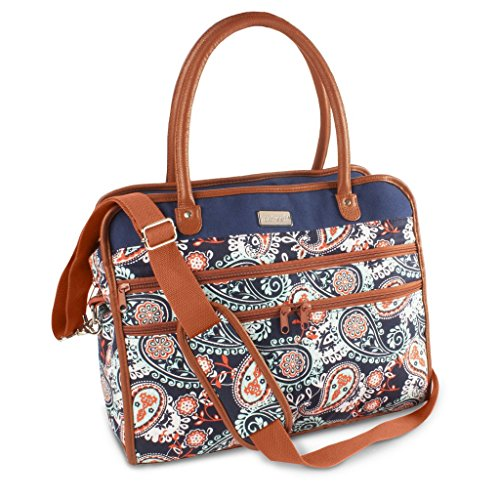 Fit & Fresh Wayfarer Carry On Bag for Women, Zippered Travel Tote, Navy Orange Paisley ()