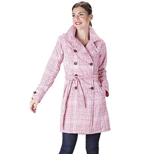 HappyRainyDays - Femme | Manteau impermable, trench-coat avec capuche, Veste de pluie multicolore (strokes red)