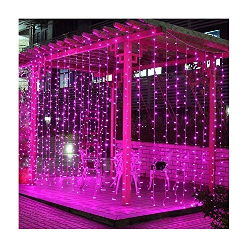 (Valuetom 304 LED Curtain Lights Fairy String Twinkle Lighting for Party Wedding Home Garden Decoration 9.8Ft9.8Ft (Pink))