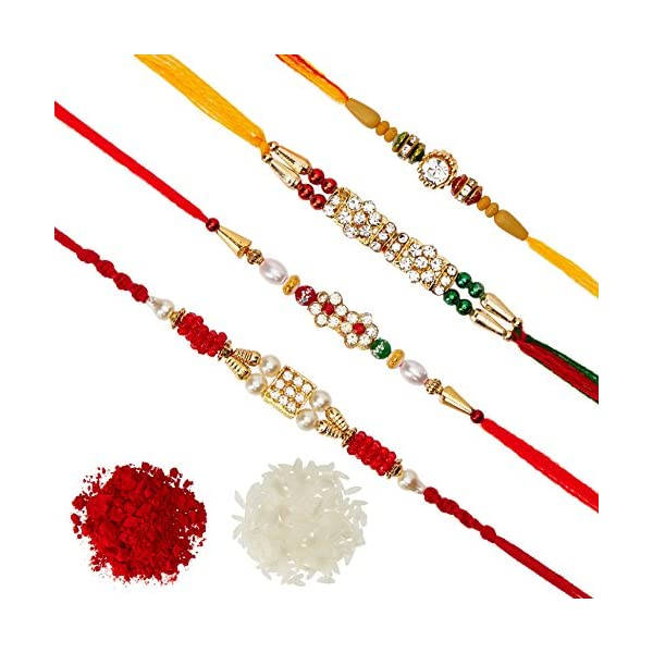 Pack of 4 Rakhi for Men with Roli Chawal Tilak