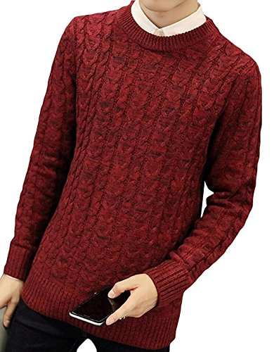 Old Navy Cable Knit Sweater - Kebinai Fashion Men's Knit Pullover Round Crew Neck Cable Sweater RedUS Medium
