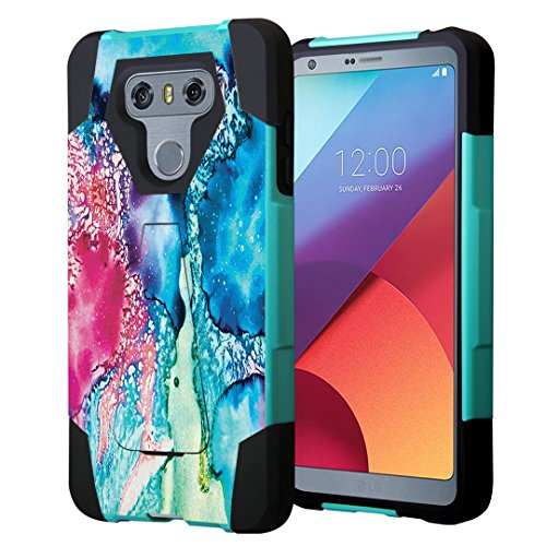 LG G6 Case, Capsule-Case Hybrid Fusion Dual Layer Shockproof Combat Kickstand Case (Teal Green & Black) for LG G6 (2017) - (Rainbow Quartz) - Rainbow Fusion