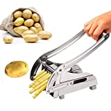 Commercial Grade French Fry Cutter Stainless Steel Fruit Vegetable Slicer with 2 Interchangeable Blades Silver [US STOCK]