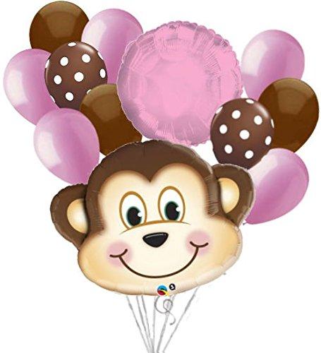Mischievous Monkey (12pc Mischievous Monkey Balloon Bouquet Party Decoration Baby Girl Birthday)