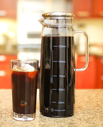 COLD BREW Coffee Maker Glass Pitcher with Easy-clean Filter, Large. Iced Coffee, Iced Tea Brewer and Water Infuser