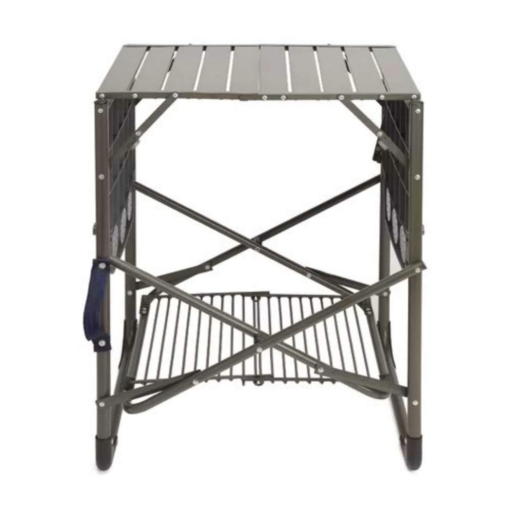 Camp Folding Table BBQ Prep Portable Picnic Cook Station Stand Outdoor 2 Side Shelves Cup Tools Holders Carrying Handle Storage Rack Grilling Camping Sporting Events Organized Supplie&eBook byBADAshop