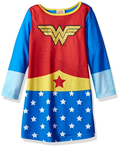SGI Apparel Girls' Little Superhero Night Shirt Costume Pajamas, REDBLU 6/6X ()