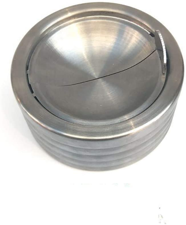 Kikier Covered Ashtray Round Windproof Stainless Steel Indoor and Outdoor Tabletop Ashtray with Cover