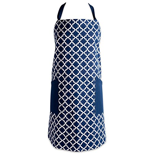 DII Cotton Adjusatble Women Kitchen Apron with Pockets and Extra Long Ties, 37.5 x 29, Cute Apron for Cooking, Baking, Gardening, Crafting, BBQ-Lattice Nautical Blue