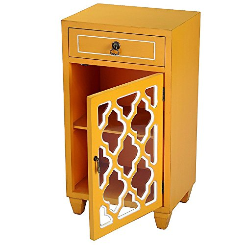Heather Ann Creations Single Drawer Distressed Decorative Accent Storage Cabinet with Multi Clover Glass Window Inserts, 30'' x 18'', Orange by Heather Ann Creations (Image #2)