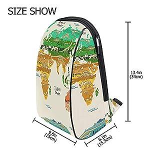 ISAOA – Mochila Escolar para niños, diseño de Mapa del Mundo con Dinosaurios, Ligera, Duradera, para niños de 2 a 7 años