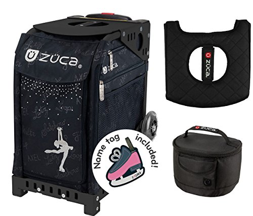 Zuca Sport Bag - Ice Queen with Gift Lunchbox and Seat Cover (Black Non-Flashing Wheels Frame) by ZUCA