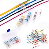 Baleauty 50Pcs Solder Seal Electrical Wire Connectors - Heat Shrink Tube Insulated Welding Butt Terminals with/Waterproof Marine Automotive Copper Connector Kit (22Red 13Blue 10White 5Yellow)