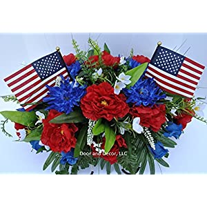 Summer Patriotic Cemetery Flowers with Red Roses, Blue Spider Mums, Blue Roses, and White Forget-me-nots headstone saddle arrangement 72