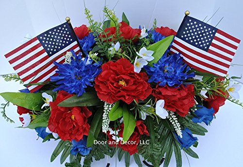 - Summer Patriotic Cemetery Flowers with Red Roses, Blue Spider Mums, Blue Roses, and White Forget-me-nots headstone saddle arrangement