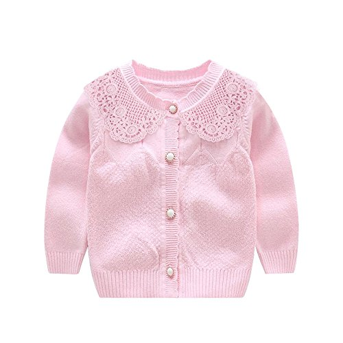 XIAOHAWANG Knitted Baby Girls Cardigan Toddler Button Sweaters (6 Monthes, Pink) ()
