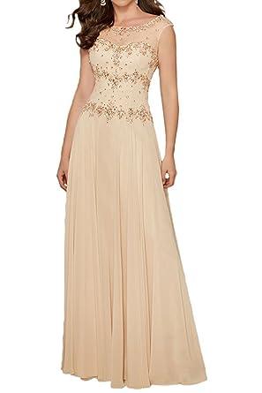 La_Marie Braut Beige Damen Lang Steine Chiffon Abendkleider  Brautmutterkleider mit Kurzarm Festlichkleider-32 Beige