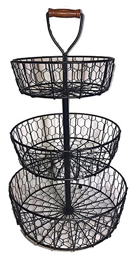 (Handcrafted Rustic Wrought Iron 3-Tier Chicken Wire Countertop Basket for Fruit, Vegetables or Cosmetics)