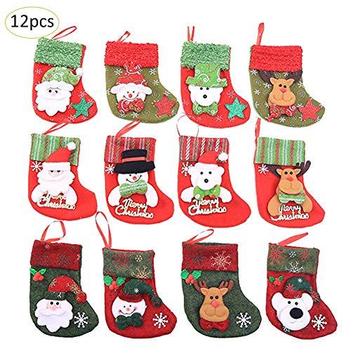 Rundaotong-US Mini Christmas Stockings, 12 Pcs Set Classic Xmas Stocks for Decoration Kids Gift Holding Stocking Tree Ornament for Favors and Decorating (Mini Needlepoint Christmas Stocking)