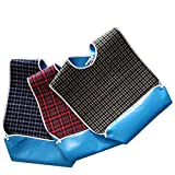 Dining Clothing Protectors, Adult Mealtime Protector, Patient Bibs, Washable Waterproof Pocket Bib, Red Blue Green Lattice 3 Pack IFANLEE