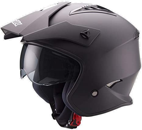 Size-Extra Casco X-Small Hombre Colour-Black Mate UNIK Ct-07 Trial Helmet with Solar Glasses