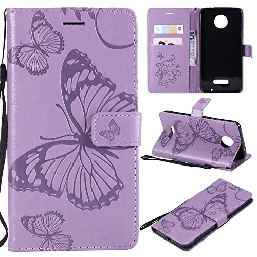 Price comparison product image ARSUE Moto Z Force Droid Case, Moto Z Force Wallet Case, Leather Folio Flip PU Card Holder Slots with Kickstand Phone Protective Case Cover for Motorola Moto Z Force Droid 2016, Butterfly Light Purple
