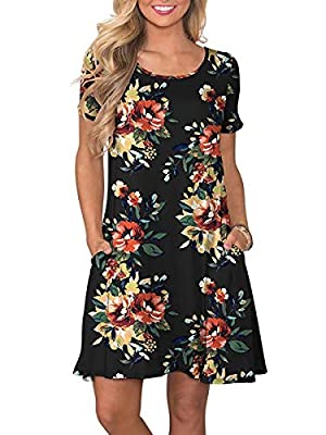 OFEEFAN Womens Cold Shoulder Swing Dresses Casual Tunic with Pockets
