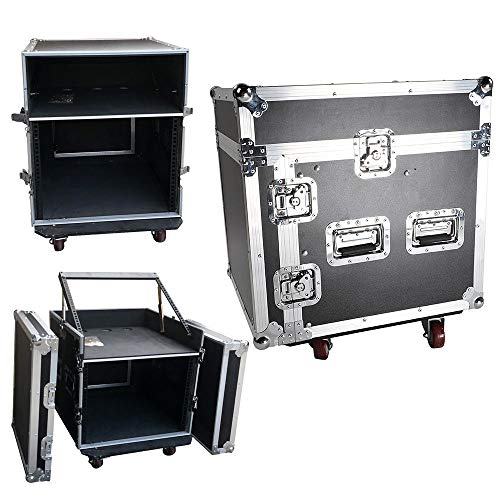 12 Space Rack with Case Slant Mixer Top DJ Mixer Cabinet for Audio ()
