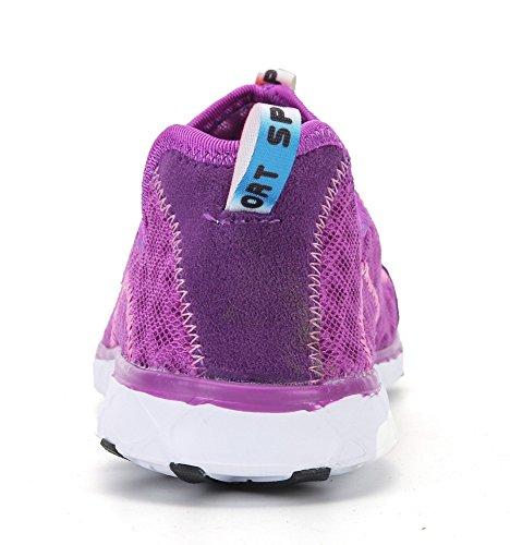 welltree Damen und Herren schnell trocknend atmungsaktiv Mesh leichte Slip auf Aqua Wasser Schuhe 1-violett