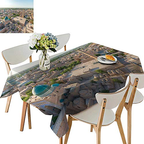 UHOO2018 Printed Fabric Tablecloth Square/Rectangle Panorama ncient khiva City uzbekist Wedding Party Restaurant,50 x 81inch ()